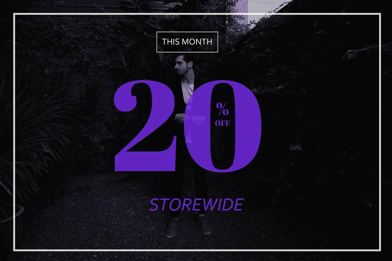Storewide 20% Off