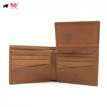 RAV DESIGN 100% LEATHER MEN RFID SHORT WALLET |RVW565G1