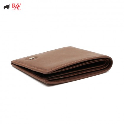 RAV DESIGN 100% LEATHER MEN SHORT WALLET BROWN |RVW584G1(A)
