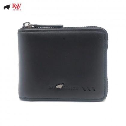 RAV DESIGN Leather Men Short Zip Closure Anti-Rfid Wallet  RVW589G2