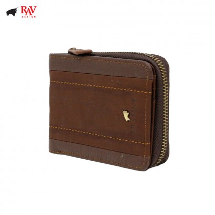 RAV DESIGN Leather Men Short Wallet Zip & Clip Closure |RVW578G2