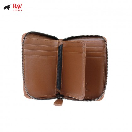 Rav Design Men Anti-RFID Leather Short Wallet with Zip Closure Premium Edition Brown |RVW606G2