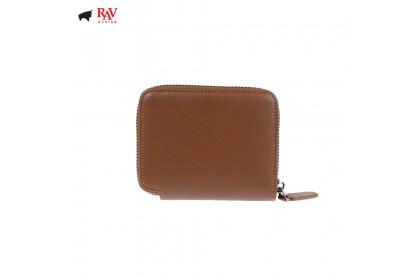 Rav Design Men Anti-RFID Leather Short Wallet with Zip Closure Premium Edition Brown  RVW606G2