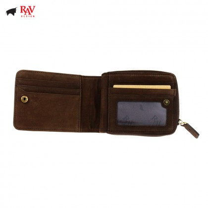 Rav Design Men Genuine Leather Short Wallet With Zip Closure |RVW600G2(C)