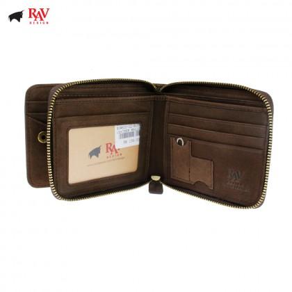 RAV DESIGN Men Genuine Leather Short Wallet With Zip Closure |RVW600G2(C)