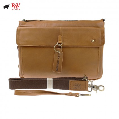 RAV DESIGN 100% Genuine Leather Clutch Bag with Key Holder Light Brown |RVC454G2