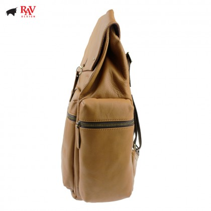 RAV DESIGN 100% Genuine Leather Backpack Light Brown |RVC454G4