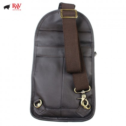 RAV DESIGN 100% Genuine Leather Chest Bag Dark Brown |RVE463G1