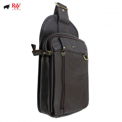 RAV DESIGN 100% Genuine Leather Chest Bag Dark Brown |RVE463G2