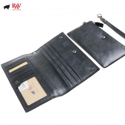 Rav Design Men Genuine Leather Long Zipper Wallet |RVW605G1