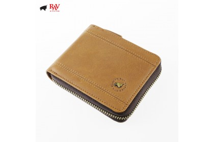 Rav Design Men Genuine Leather Anti-RFID Wallet with Reattachable Card Holder Brown |RVW615G1