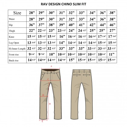Rav Design Men's Long Pant Slim Fit Chino Black RLP29822591