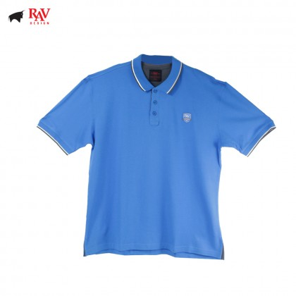 Rav Design Mens Short Sleeve Polo Shirt Blue |RCT28593281