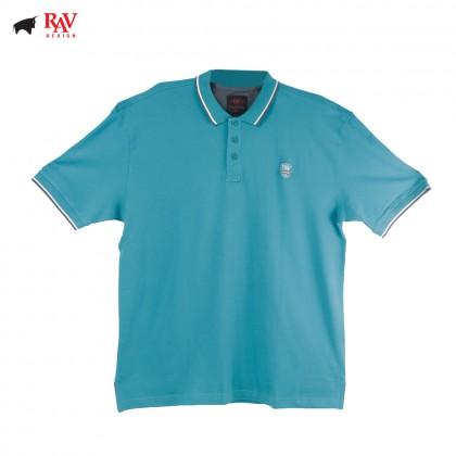 Rav Design Mens Short Sleeve Polo T-Shirt Turquoise |RCT28593284