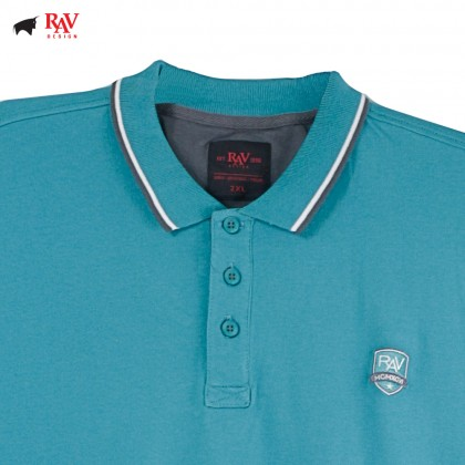Rav Design Mens Short Sleeve Polo Shirt Turquoise |RCT28593284