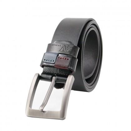 Rav Design Men's 100% Genuine Cow Leather 38mm Pin Buckle Belt Black  RVB575G1