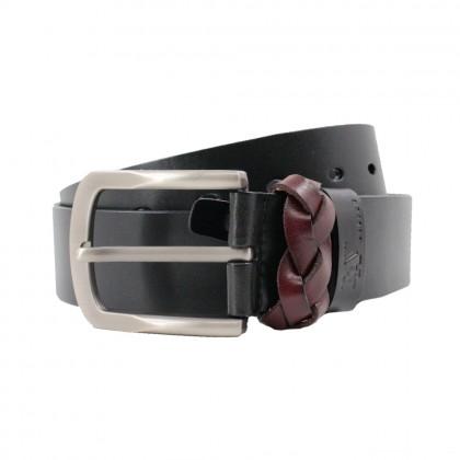 Rav Design Men's 100% Genuine Cow Leather 38mm Pin Buckle Belt Black  RVB572G1