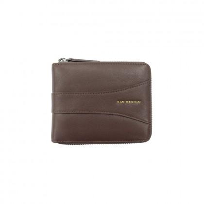 RAV DESIGN Men's Genuine Leather Anti-RFID Short Zip Wallet  RVW670G1 (A)