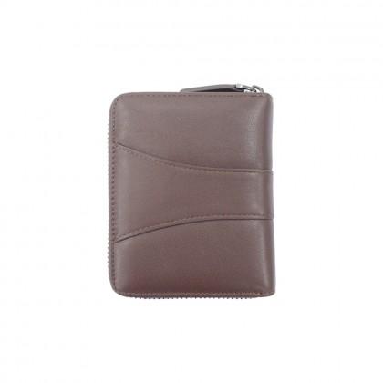 RAV DESIGN Men's Genuine Leather Anti-RFID Short Zip Wallet |RVW670G1 (B)