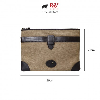 RAV DESIGN Men's Canvas with Leather Trimmings Clutch Bag |RVC456G1