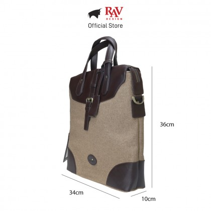 RAV DESIGN Men's Canvas with Leather Trimmings Tote Bag |RVC456G3