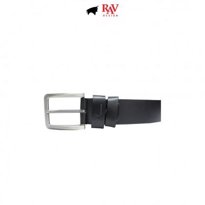 RAV DESIGN Men's 100% Genuine Cow Leather 40MM Pin Buckle Belt Black  RVB585G1