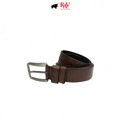 RAV DESIGN Men's 100% Genuine Cow Leather 40MM Pin Buckle Belt Brown |RVB591G1