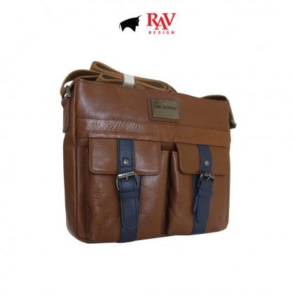 Father's Day Bundle 6: RAV Design Men's 100% Genuine Leather Anti-RFID Long Wallet & Messenger Bag |RVW629G2 RVC419G4